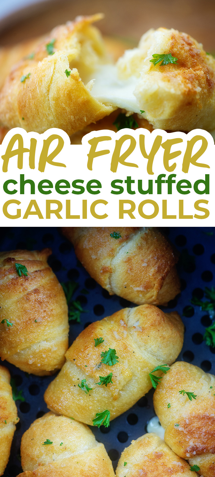 Ready in 10 minutes and so cheesy! These garlic butter crescent rolls make the perfect side for pasta night!