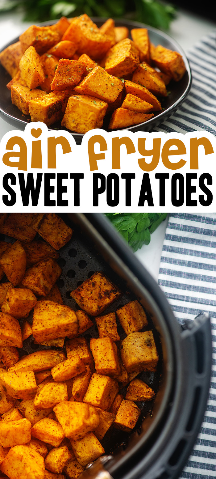 20 minutes away from a delicious side dish!  These sweet potato cubes are great with any meat dish! #airfryer #recipes #sweetpotatoes
