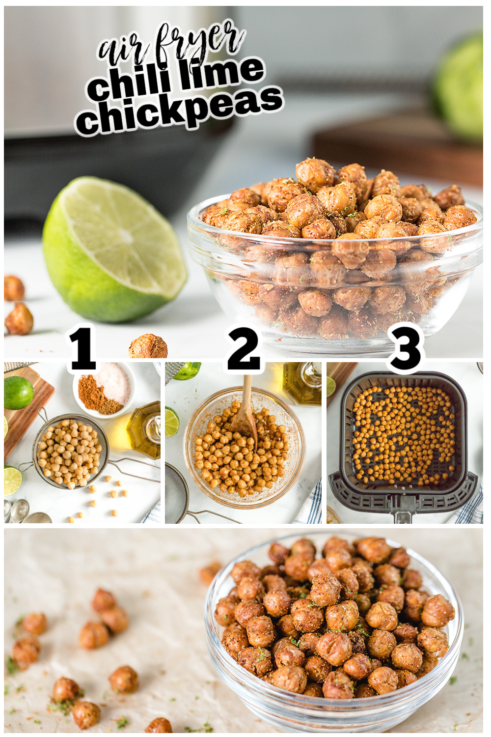 Chickpeas are a great diet-friendly, healthy snack.  This recipe brings a Mexican inspired flare to the chickpeas.  #recipes #airfryer #garbanzobeans