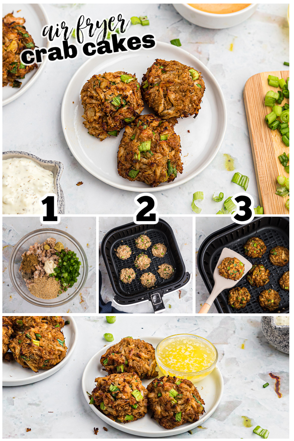 These crab cakes have just a handful of ingredients to mix together before cooking them in your air fryer!  #seafood #airfried #crab