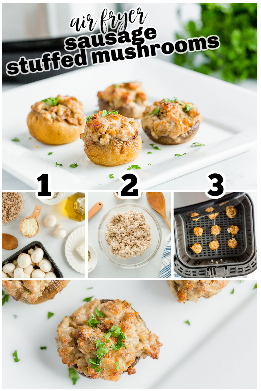 Making stuffed mushrooms is fairly foolproof with the air fryer.  Don't be afraid to try this easy recipe! #airfried #appetizers #recipes
