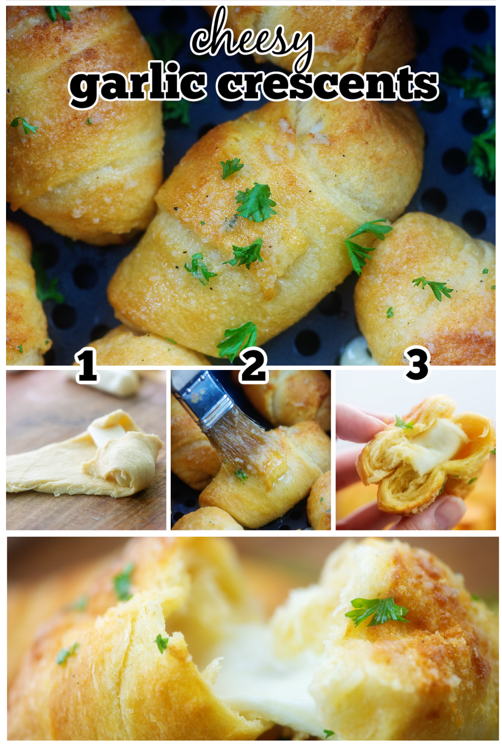 These cheese stuffed crescent rolls are so easy and cheesy! Topped with garlic butter and cooked in the air fryer!