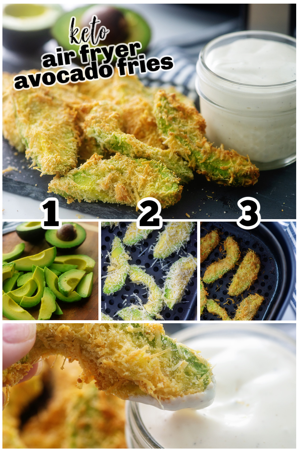 These avocado fries are simple to make in the air fryer! #lowcarb #snacks #airfried