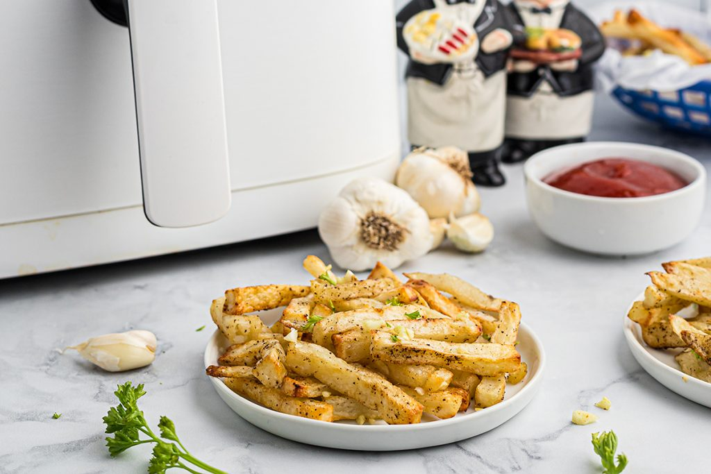 a small plate of french fries in front of an air fryer