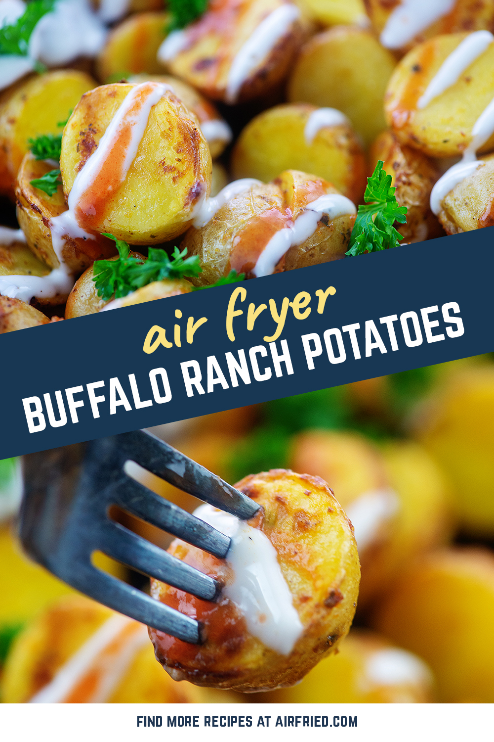 These air fryer potatoes are soft in the center, slightly crispy on the edges, and lightly covered in buffalo ranch.  They are perfect!  #airfried #recipes #appetizers