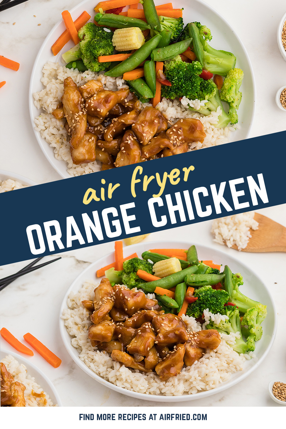 This Asian inspired orange chicken recipe is simple to make and tastes so good! #airfried #recipes #chicken