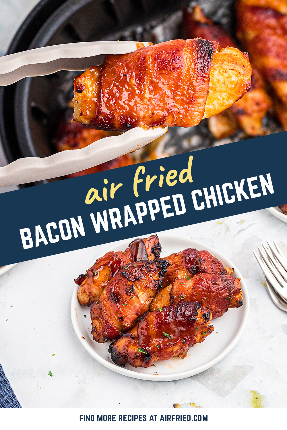A favorite lunch and appetizer, these bacon wrapped chicken bites are FANTASTIC! #airfried #bacon #appetizers