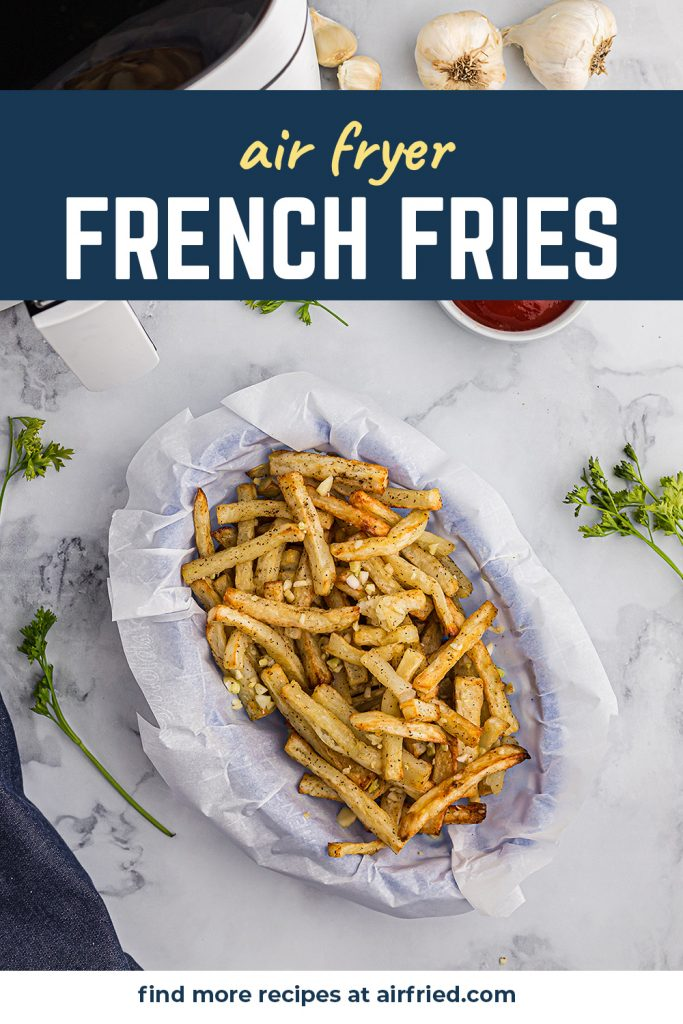 Overhead view of french fries in an appetizer basket