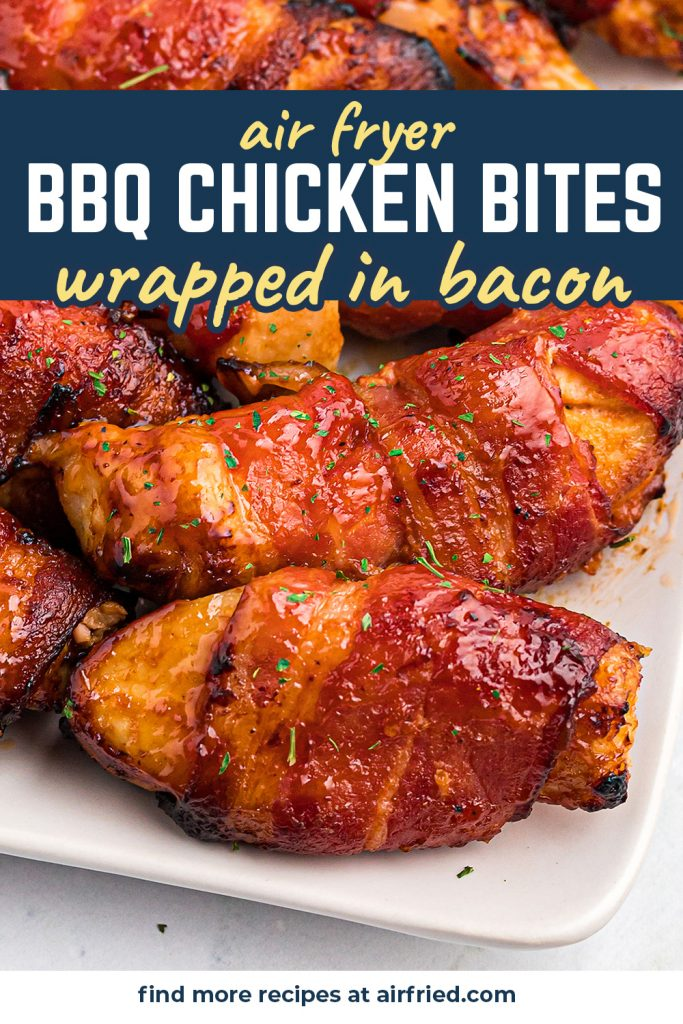 Close up of bbq chicken strips wrapped in bacon