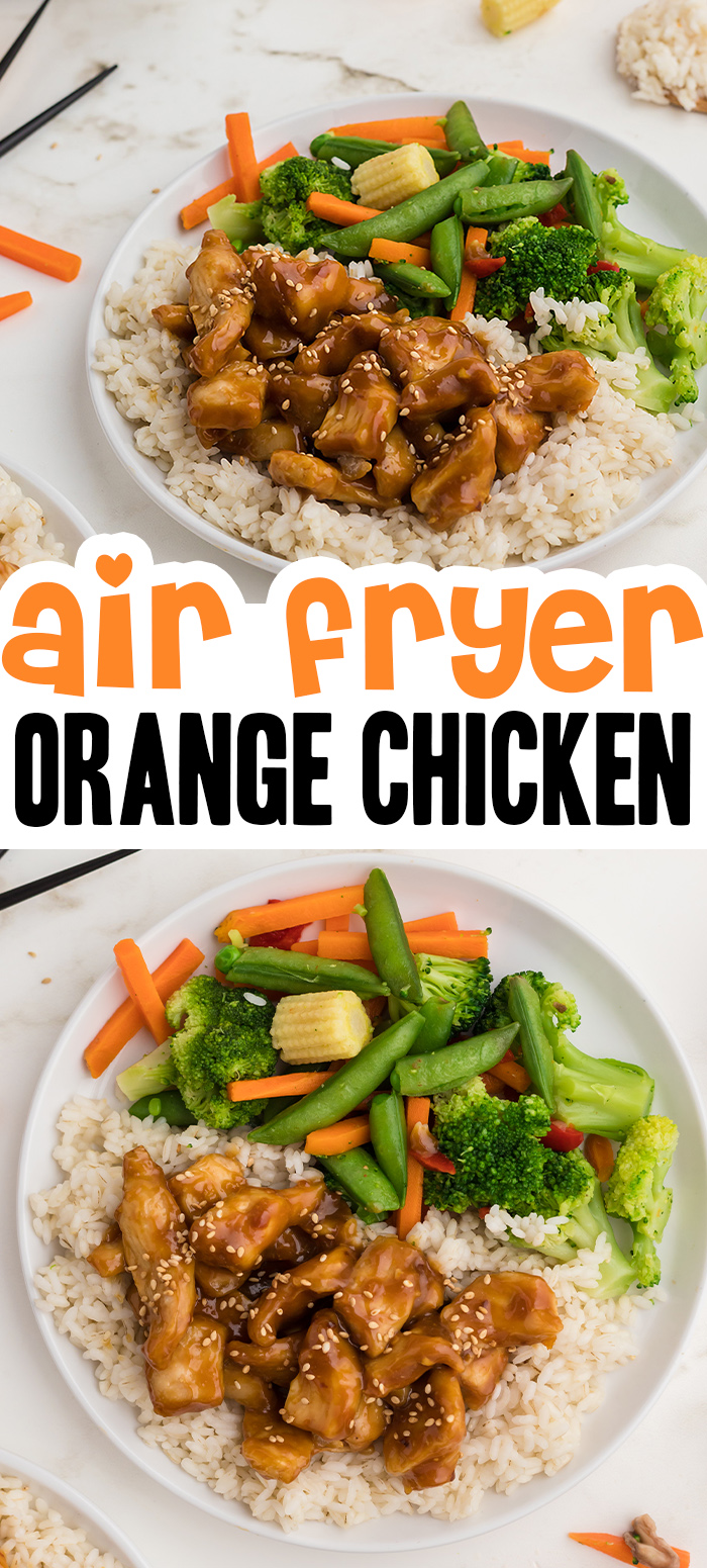 Use the air fryer to cook up your chicken and coat it in our homemade orange sauce! #homemade #orangechicken #airfried