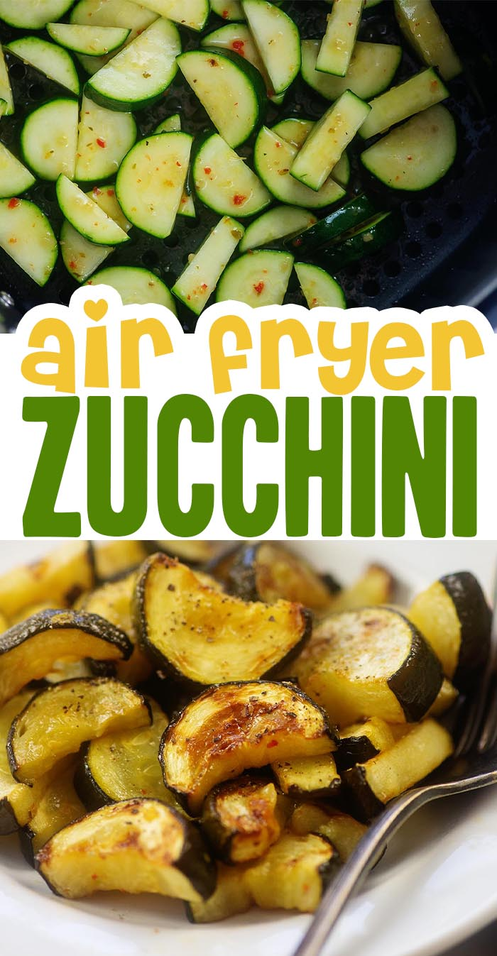 This healthy zucchini recipe cooks in minutes in the air fryer. Plus, it's low carb and keto! #zucchini #airfryer