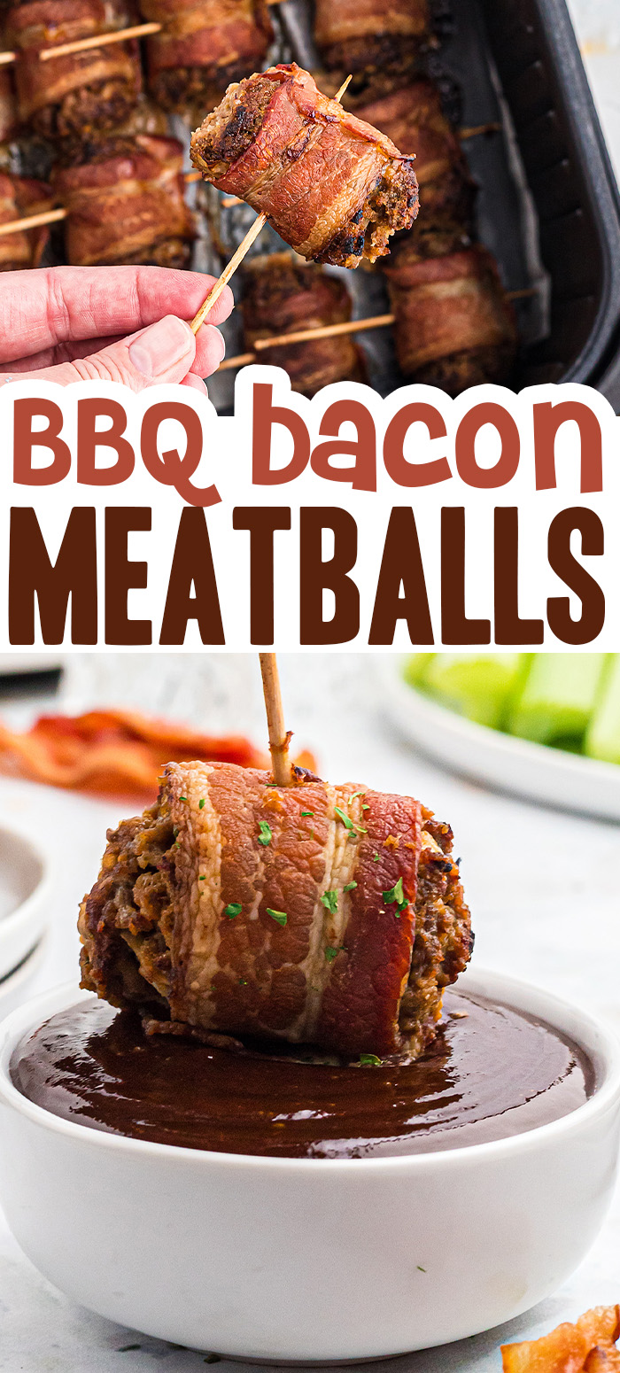 BBQ Bacon Meatballs are perfect dunked in barbecue sauce! We cook these in the air fryer and they're ready so quick!