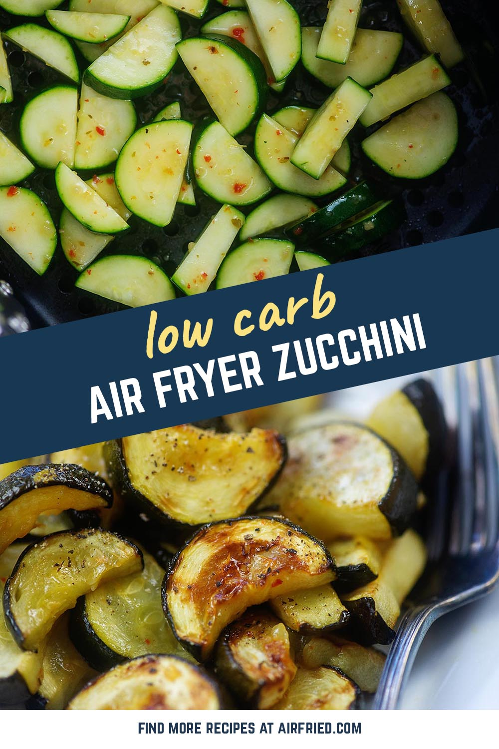 This air fryer zucchini cooks in just 10 minutes! Only 2 ingredients and it's low carb and keto too! #airfryer #lowcarb #zucchini