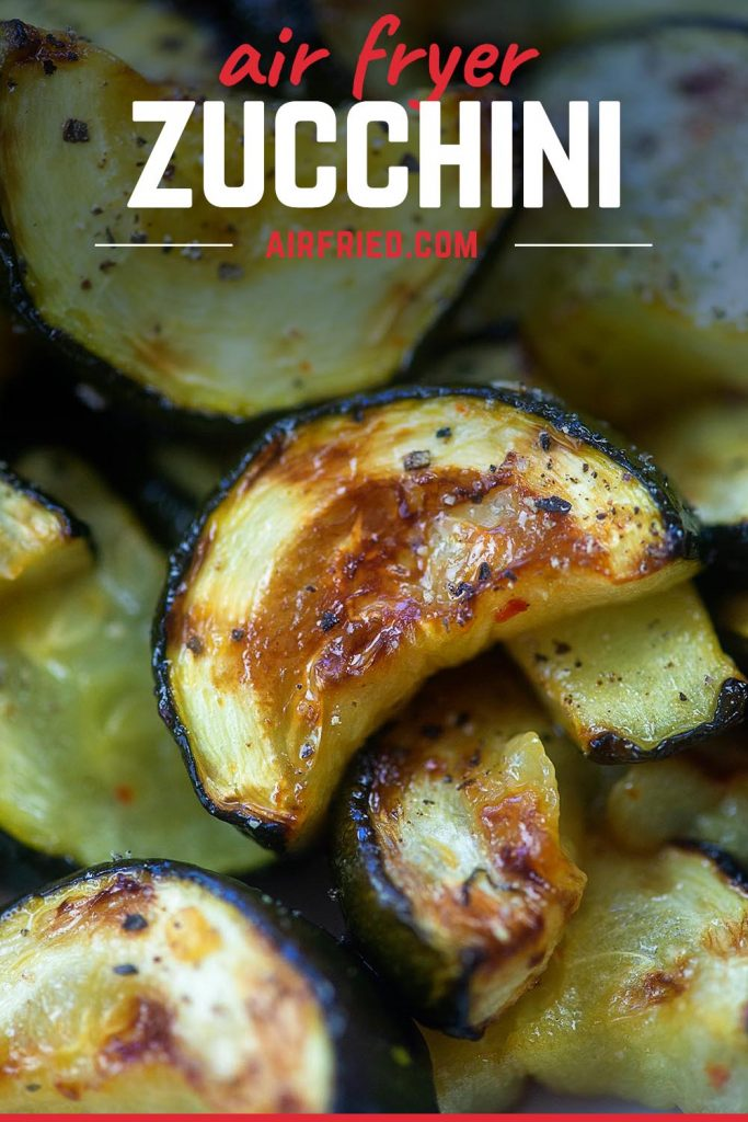 close up view of zucchini cooked in the air fryer.