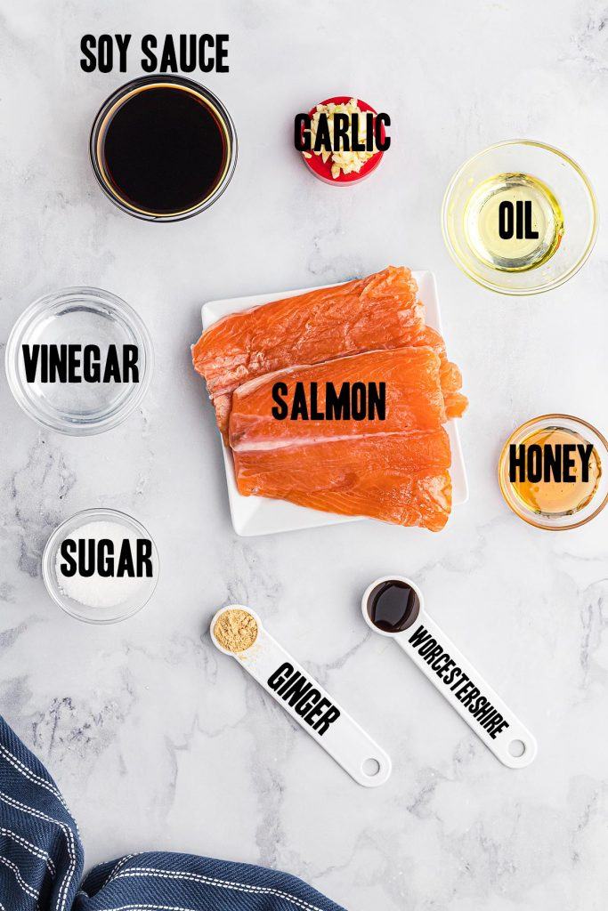 ingredients for teriyaki salmon spread out on a countertop