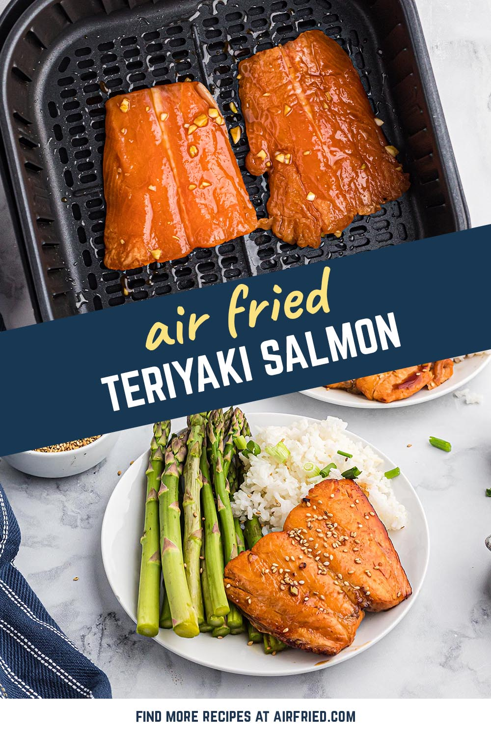 This salmon is delectably coated in our homemade teriyaki sauce. #airfryer #recipes #seafood