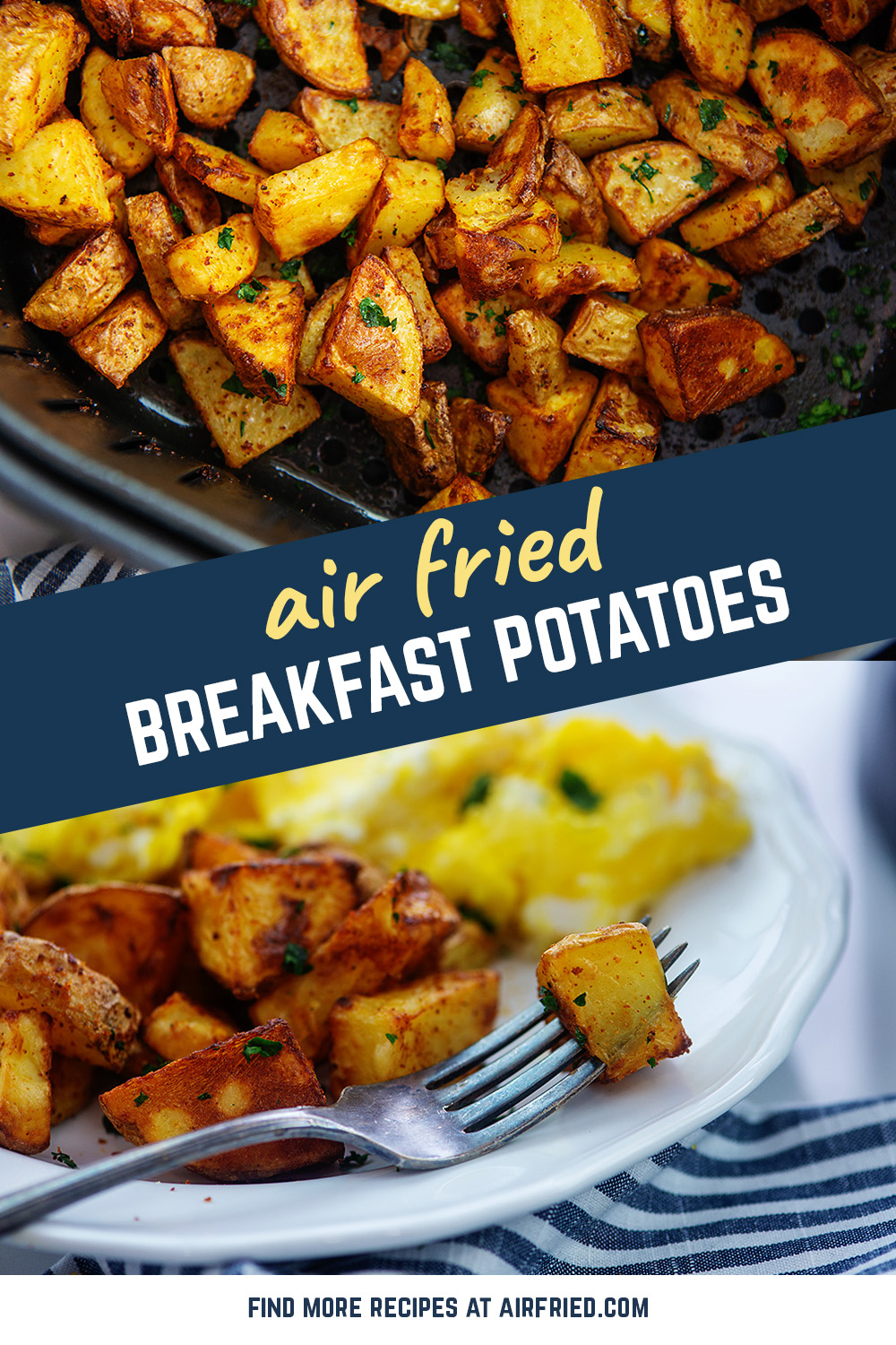 Our air fried potatoes  are a perfect dish to go with your hearty breakfast.  They are seasoned well to go with your eggs no matter how you cook them!  #airfryer #easybreakfast #potatorecipe