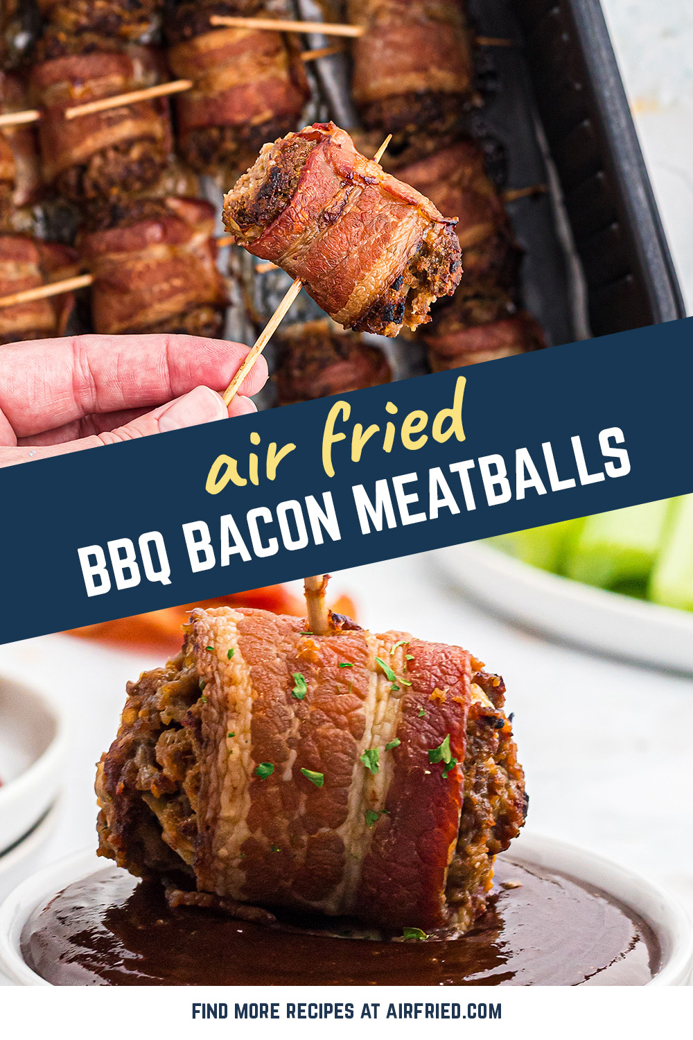 These air fryer meatballs are wrapped in bacon and dunked in barbecue for the perfect appetizer or snack.