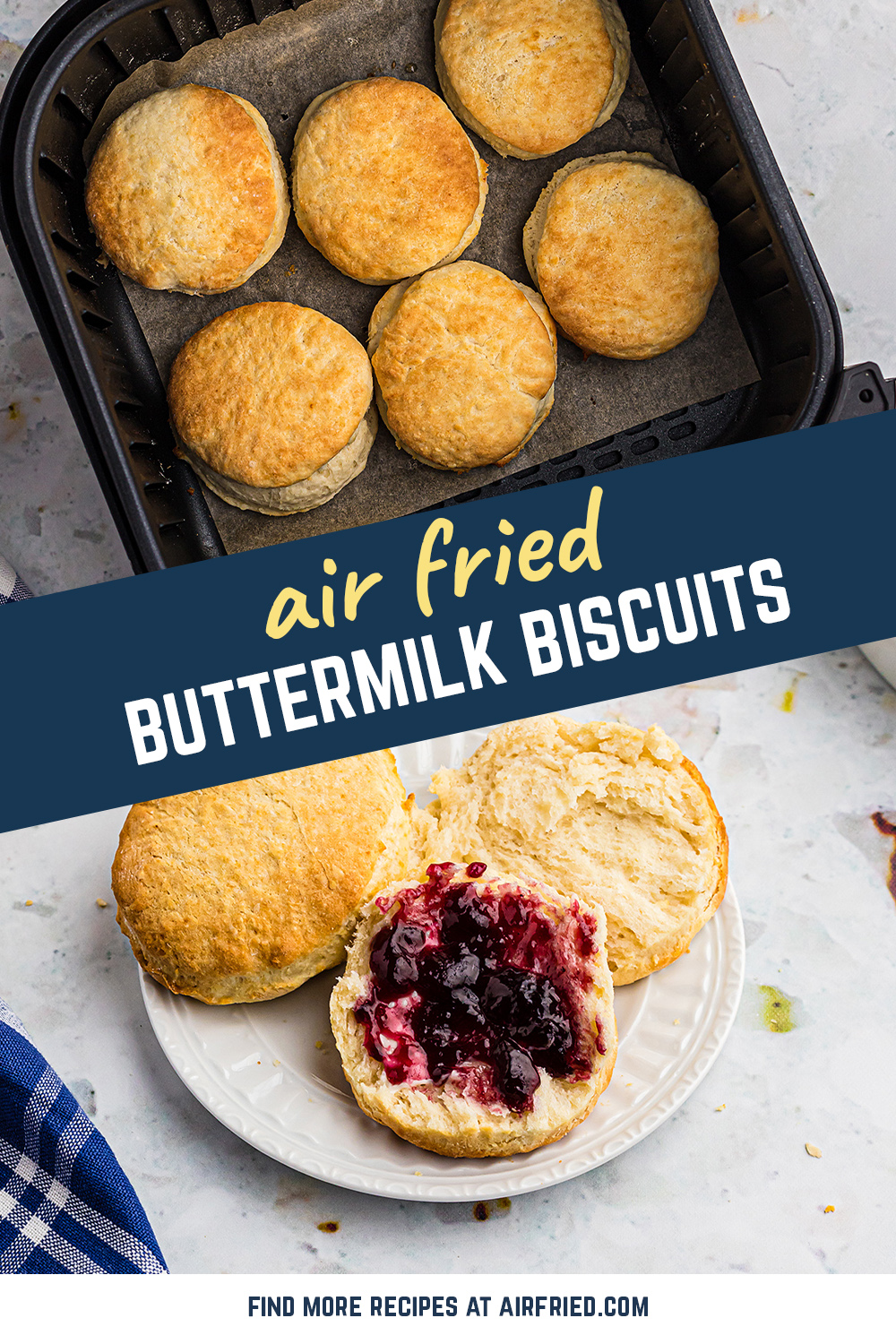 Buttermilk biscuits come out perfectly flaky from the air fryer!  #recipes #airfried #biscuits