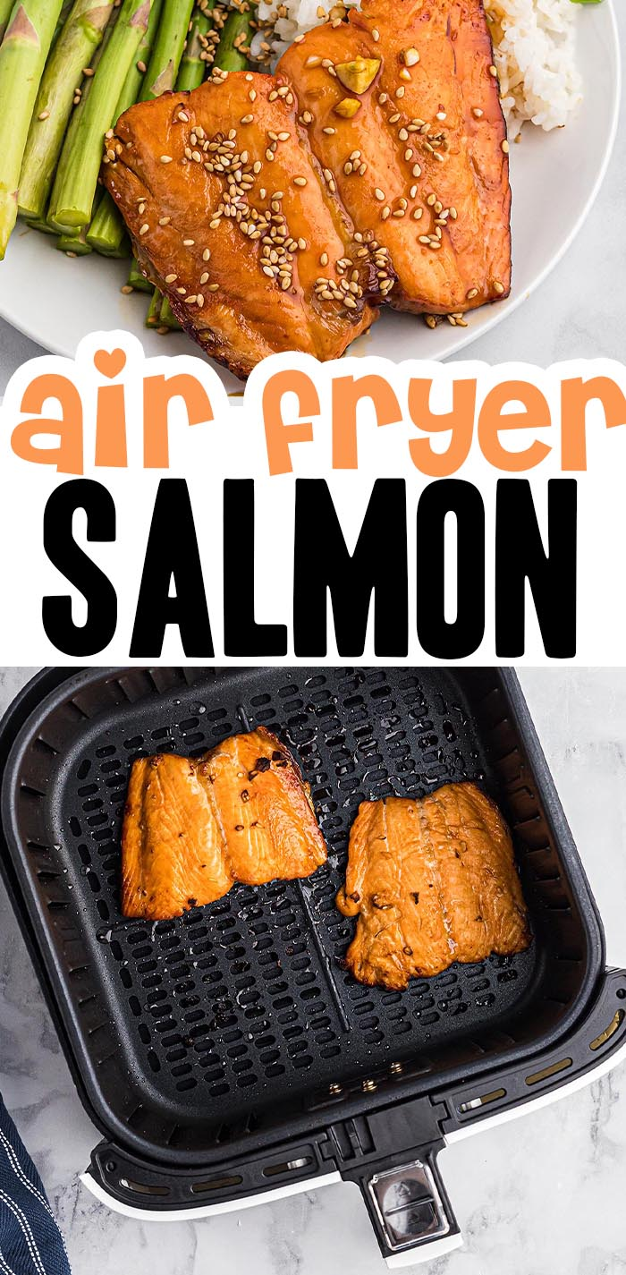 This salmon is quickly marinated in homemade teriyaki sauce, then cooked in the air fryer!  #airfried #salmon #recipes