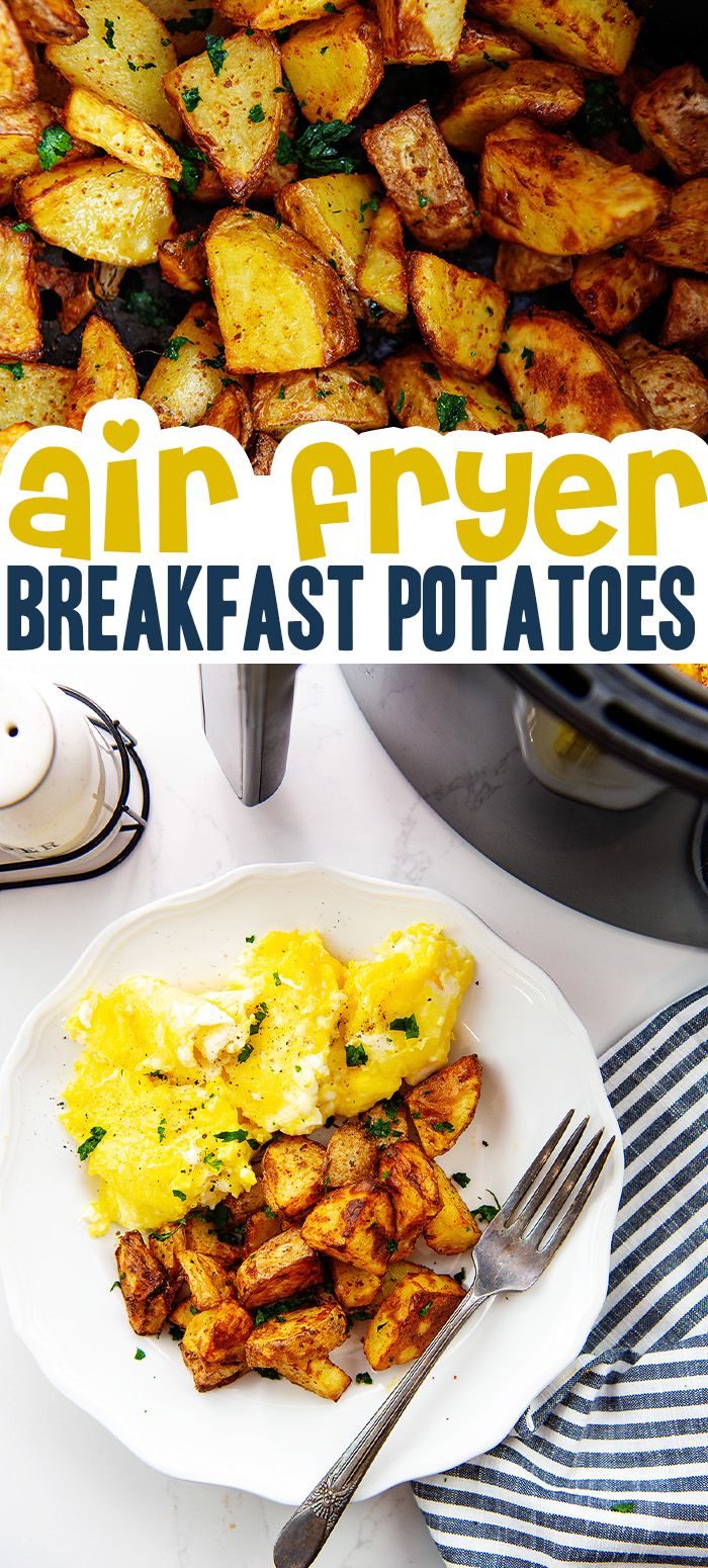 These simple potatoes are seasoned to serve with your eggs or breakfast meat!  #easycleanup #breakfast #airfryer