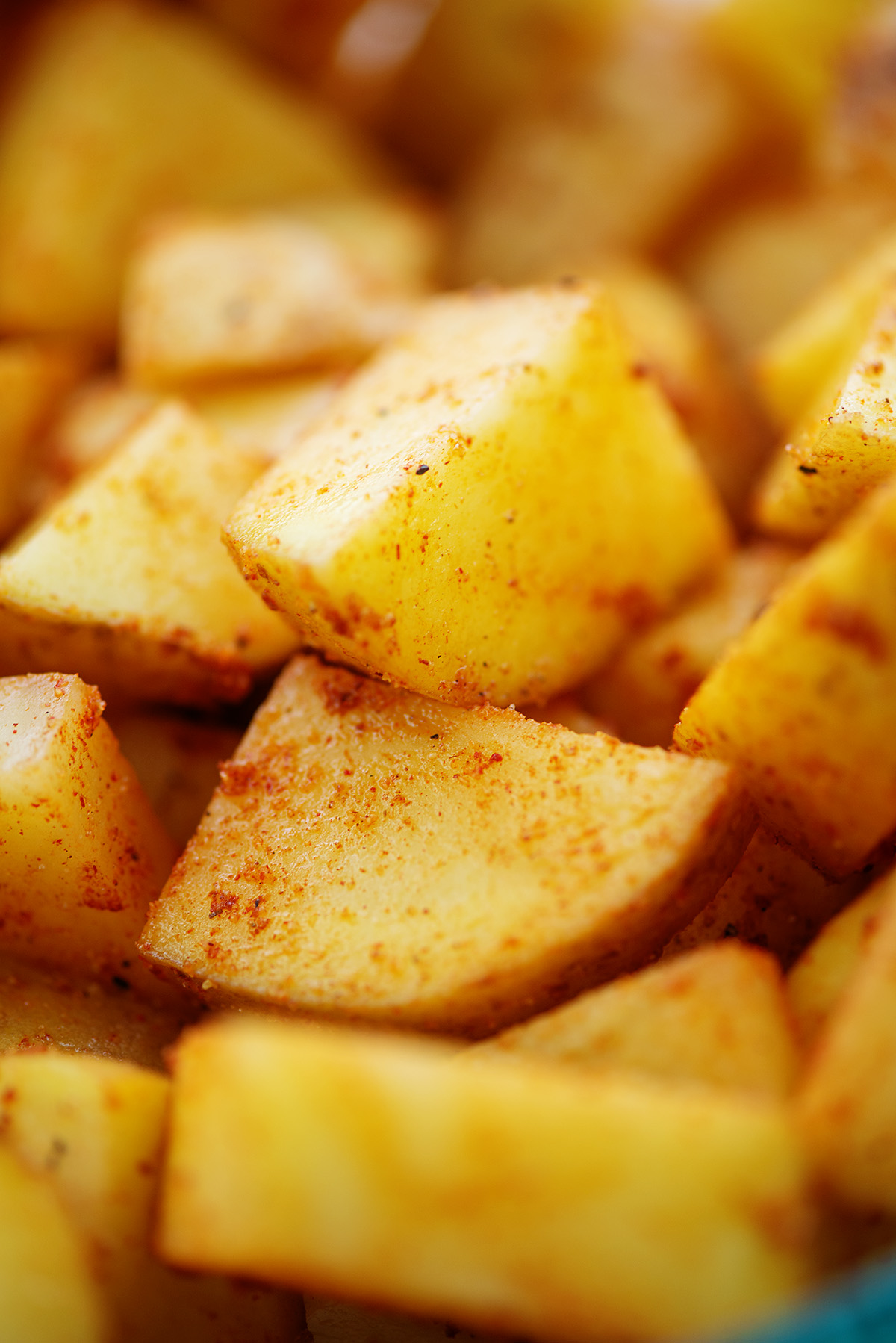 A close up of cubed breakfast potatoes