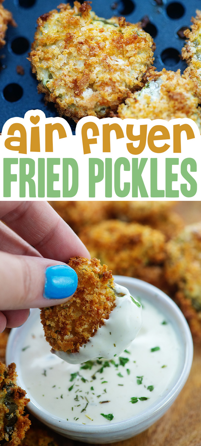 Air Fryer Fried Pickles are the perfect snack to make and they're ready in just 20 minutes! Crispy and perfect dunking in ranch!