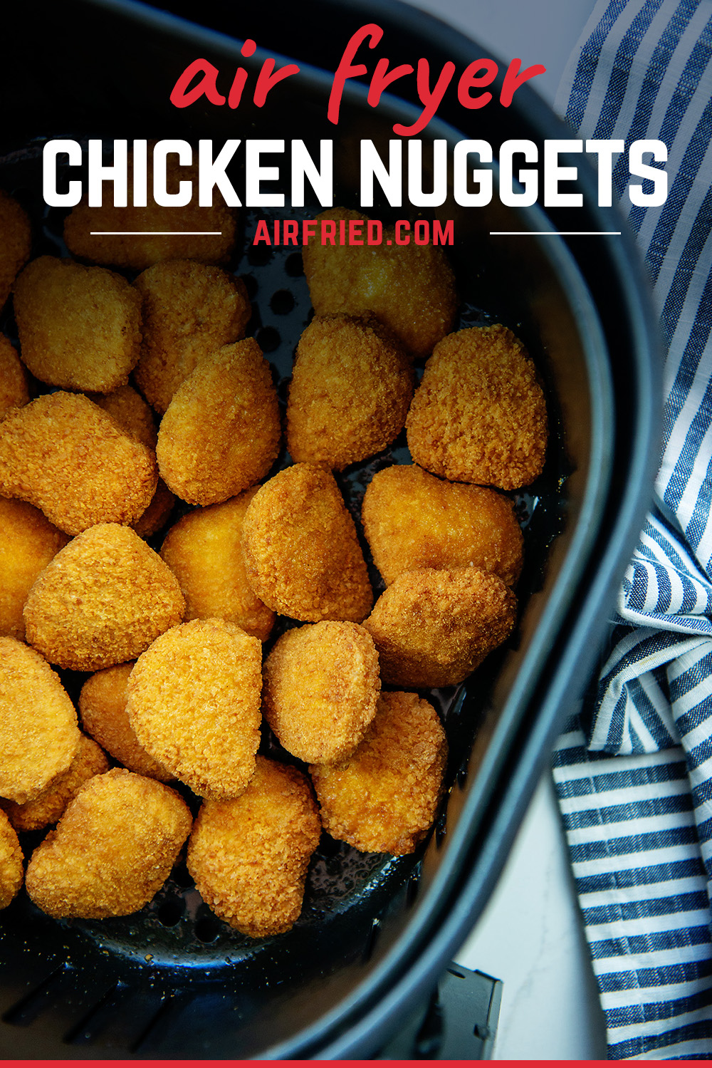 You can make frozen nuggets come out crispy by cooking them in your air fryer!  #chickennuggets #easyrecipes #airfried