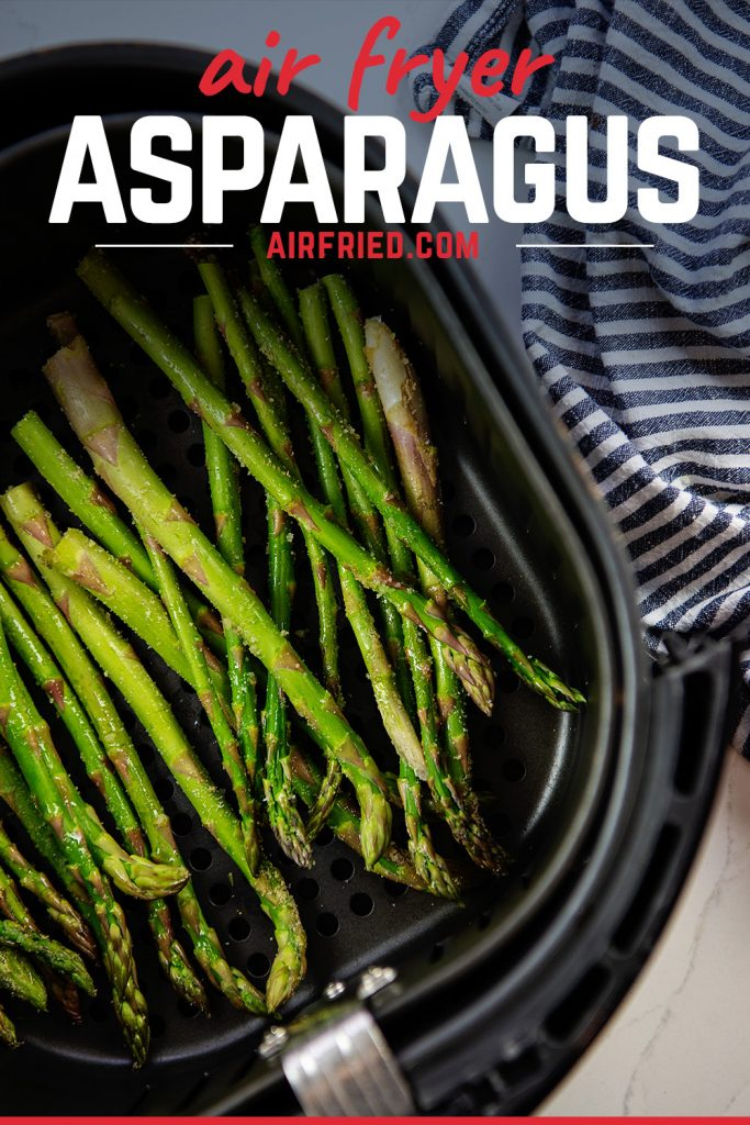 overhead view of fried asparagus in a basket