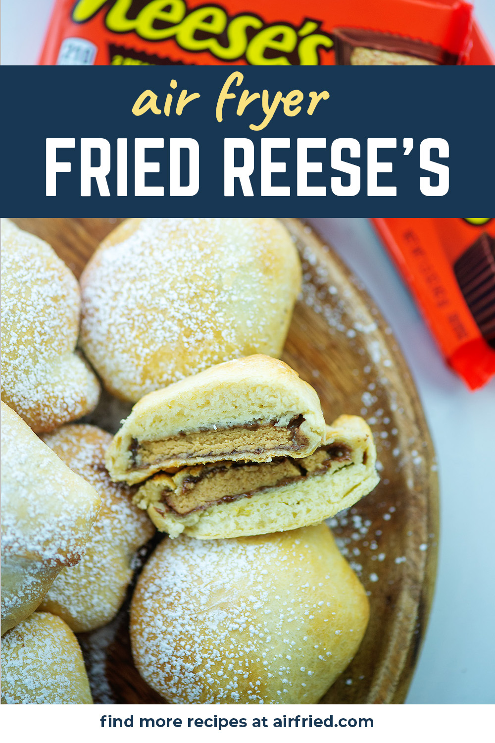 We covered peanut butter cups in a soft dough and fried them in the air fryer!  OMG these are AMAZING! #friedpeanutbutter #airfried #dessertrecipes