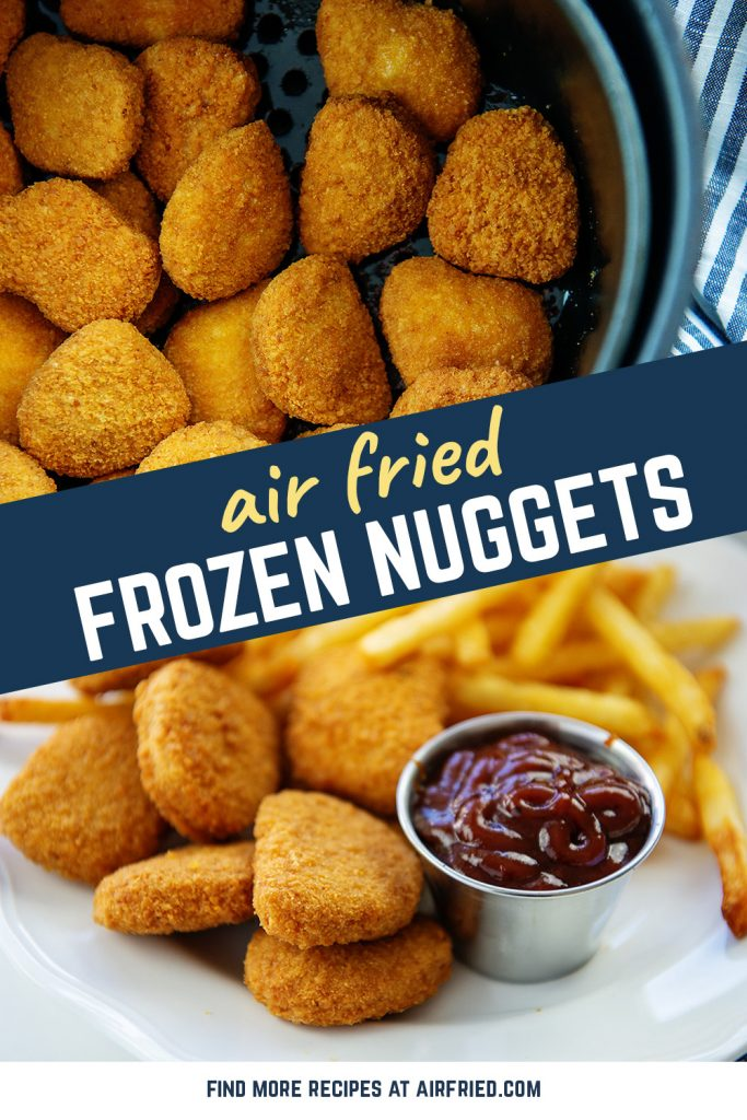 Photo collage of cooked frozen nuggets