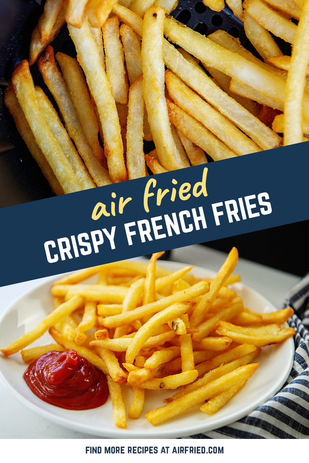 Frozen french fries cook crisply in an air fryer! #airfried #fries #recipes