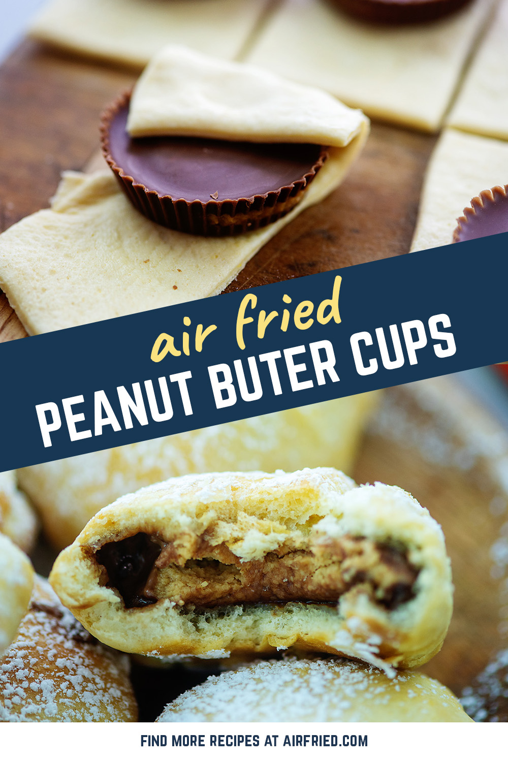 The easiest fried peanut butter cups you could possibly make!  They are an AMAZING treat.  #airfryer #friedpeanutbuttercups #frieddesserts