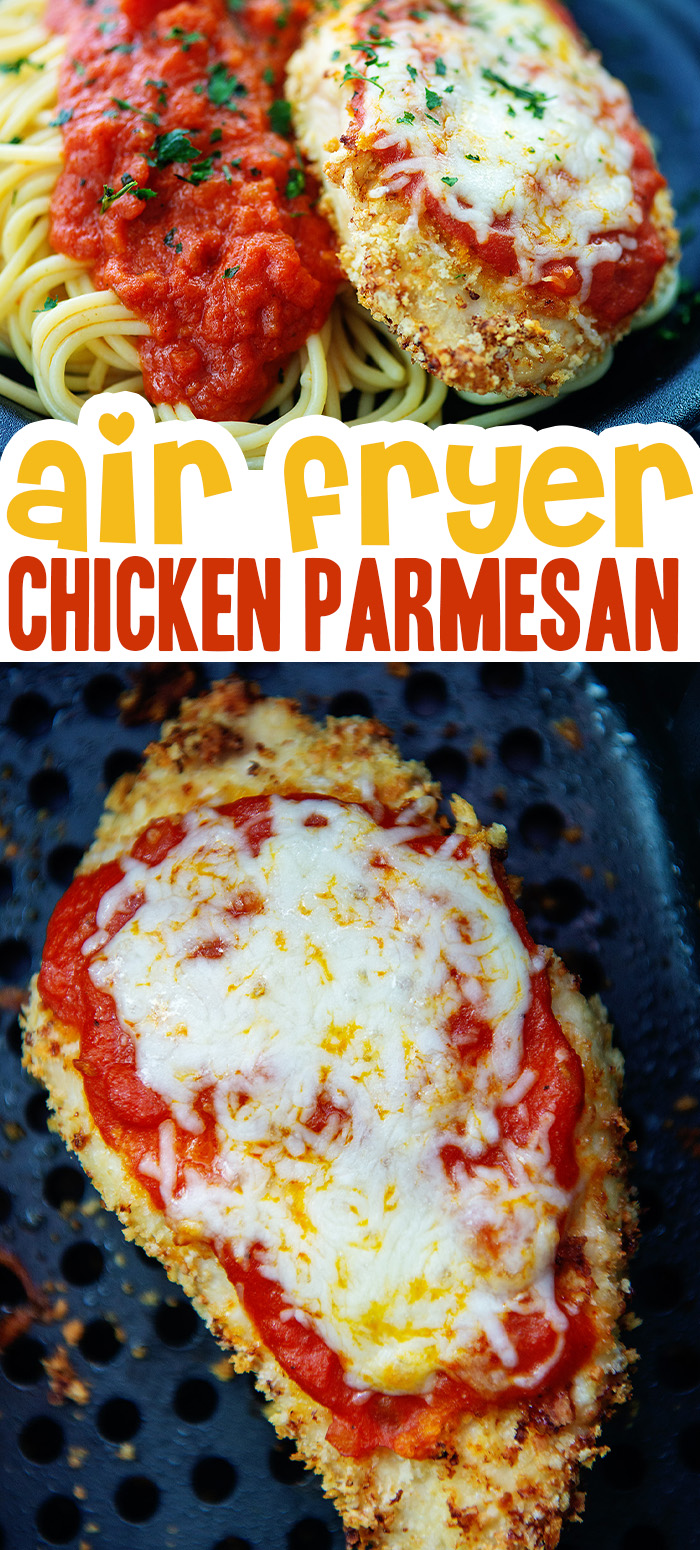 You can make a classic chicken parm in your air fryer with hardly any cleanup afterward!  Everything cooks in the air fryer basket!  #airfryer #chickenrecipes #recipes