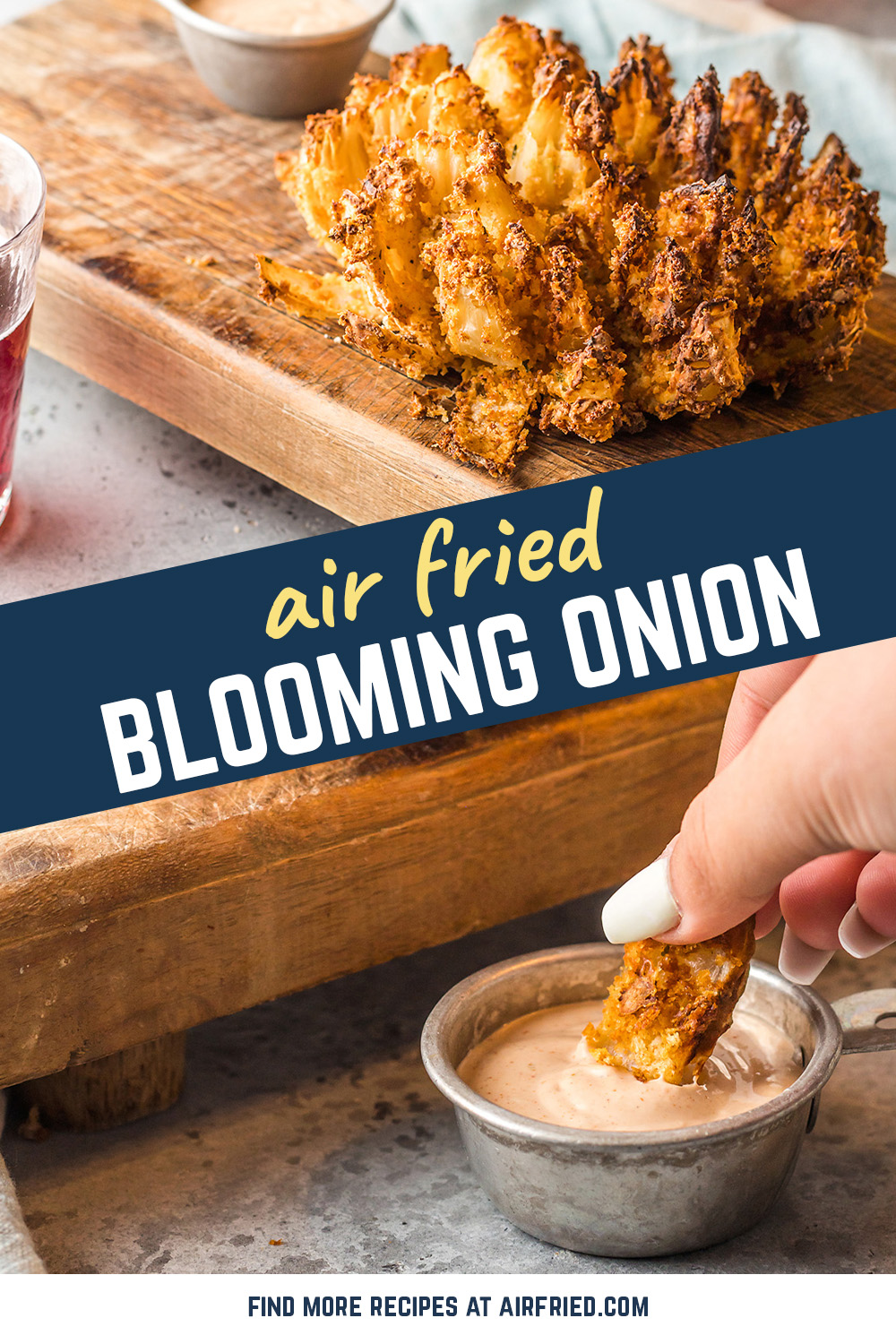 Blooming onions are beautiful and delicious!  Try them in our copycat Outback sauce!  #recipes #appetizers #airfried
