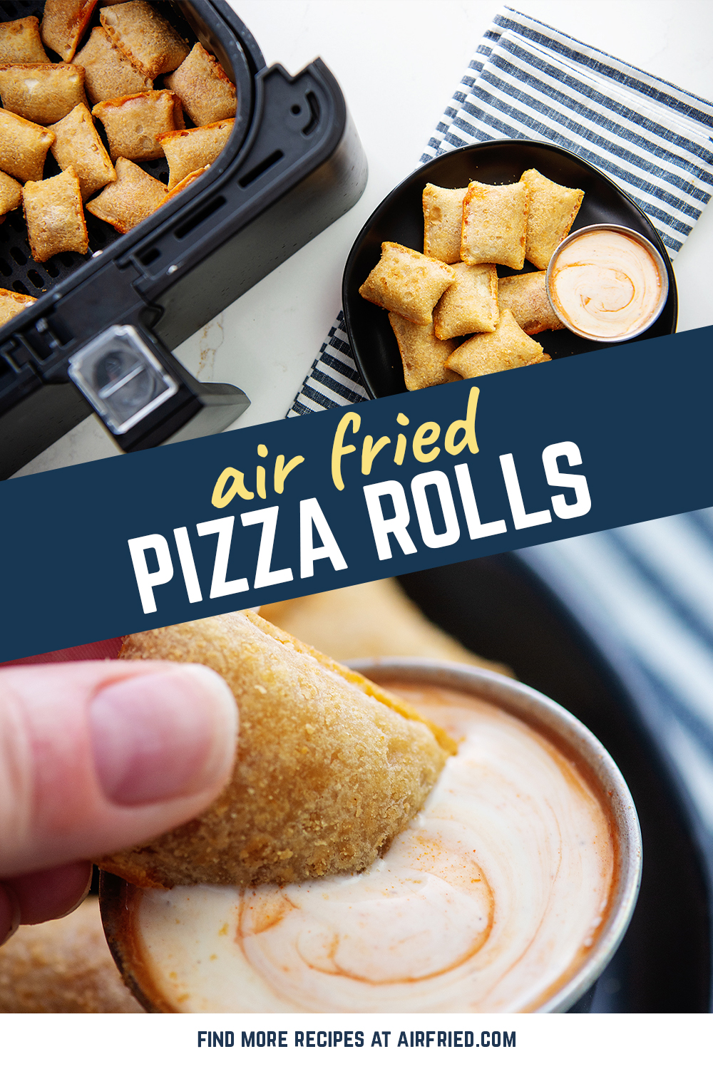 Crispy pizza rolls are easy to make in an air fryer.  Try this out and it will be your new favorite way to cook them!  #airfried #frozenrecipes #pizzarolls