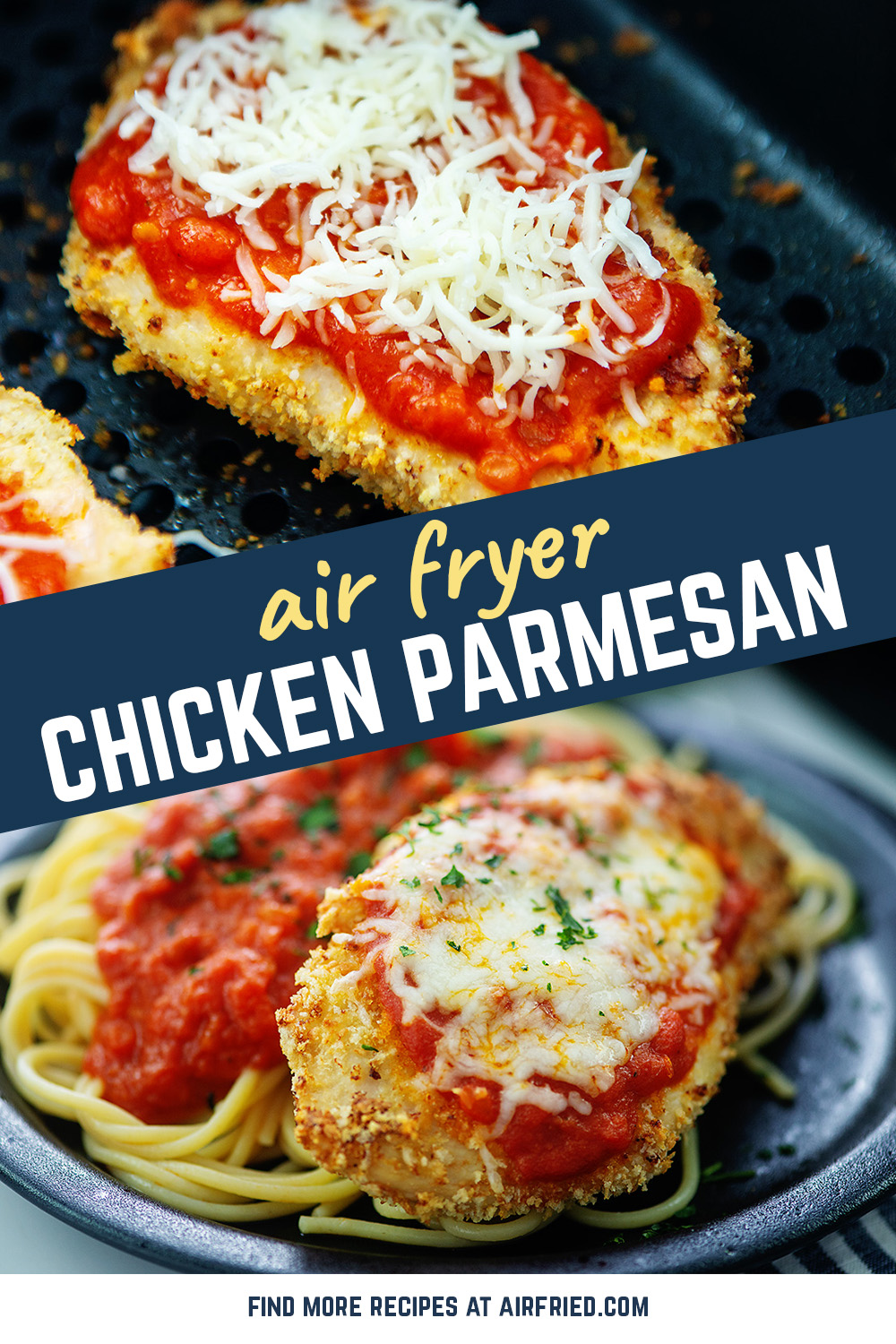 You can make chicken parmesan in your air fryer! It is super easy and a great dinner! #airfried #chickenrecipes #recipe