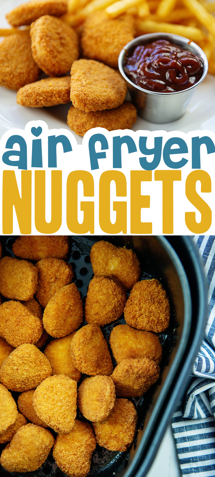 Frozen nuggets cook to a crispy finish in the air fryer!  #airfried #chickennuggets #easyrecipe