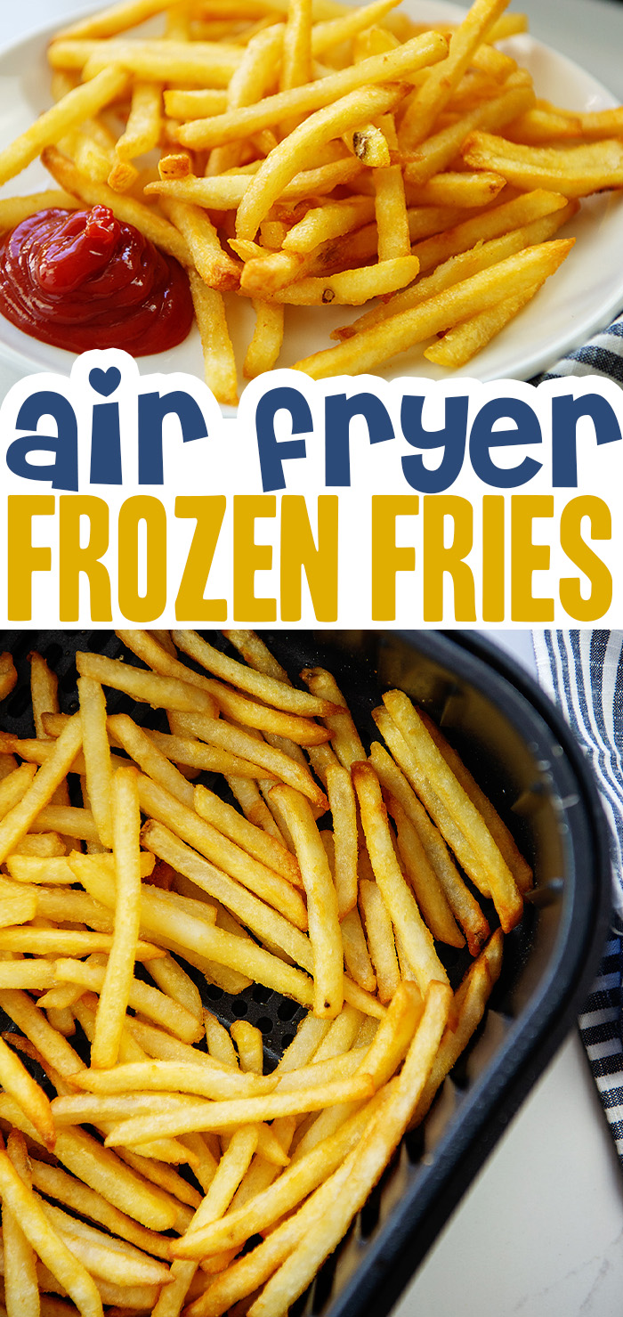 Frozen french fries are healthier when you cook them in an air fryer!  No popping grease either!  #airfried #frenchfries #recipes