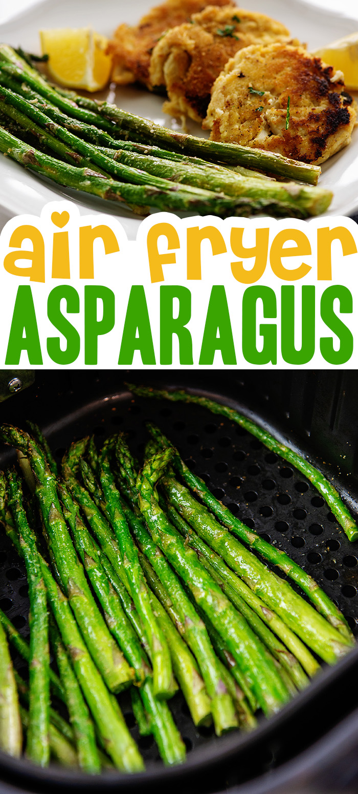 This air fried asparagus is seasoned with garlic and parmesan.  #airfryer  #healthysnack #lowcarb