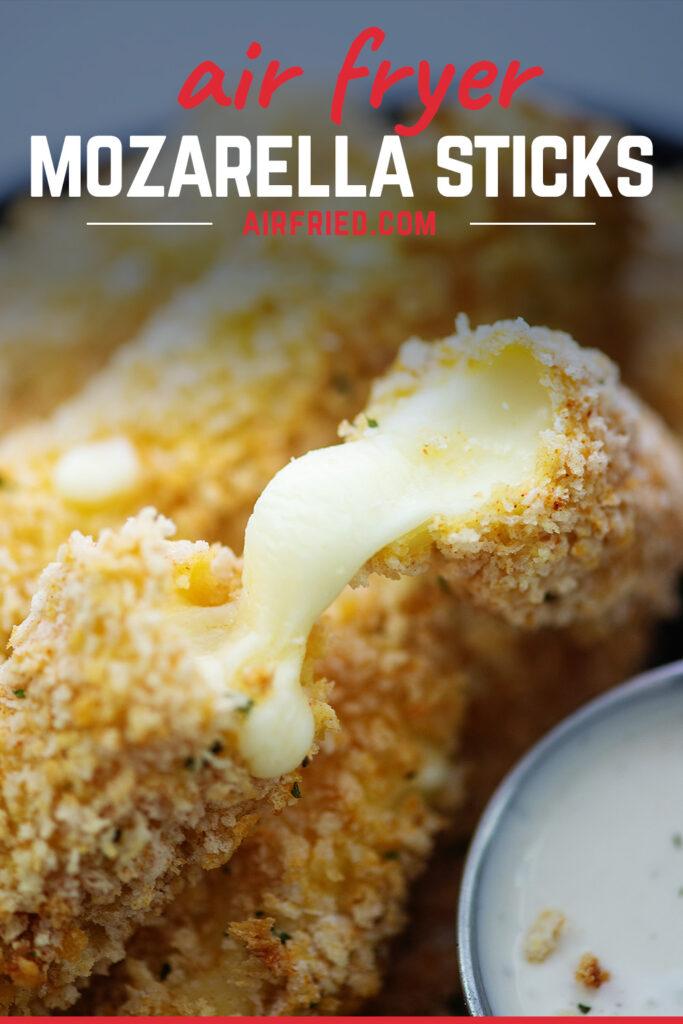 Close up of a mozzarella stick broken open