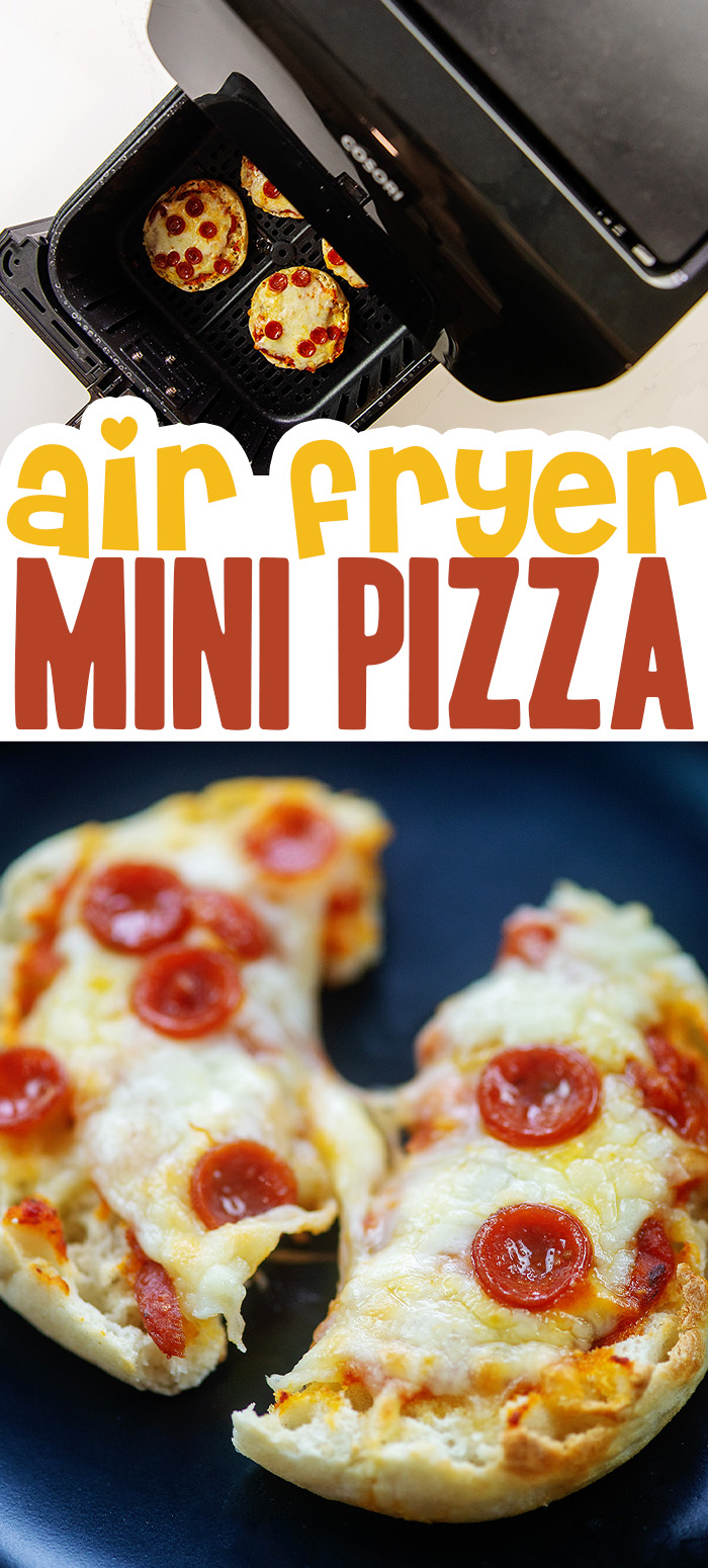 These air fryer mini pizzas are topped with cheese and pepperoni for a really easy lunch that only takes a few minutes to prepare!