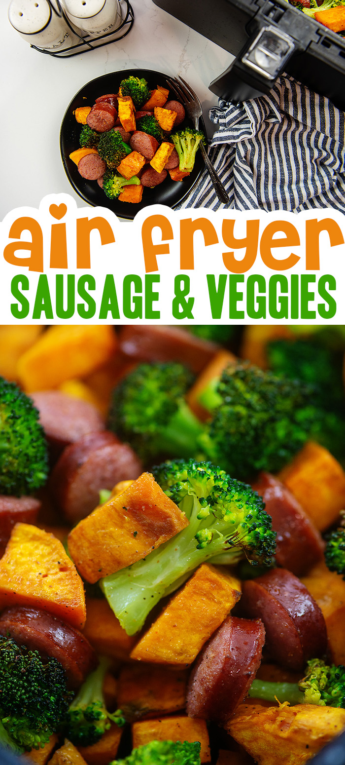 For an easy lunch or dinner to make in your air fryer, try these air fried sausage and veggies.  They are packed with flavor and an interesting blend of textures!