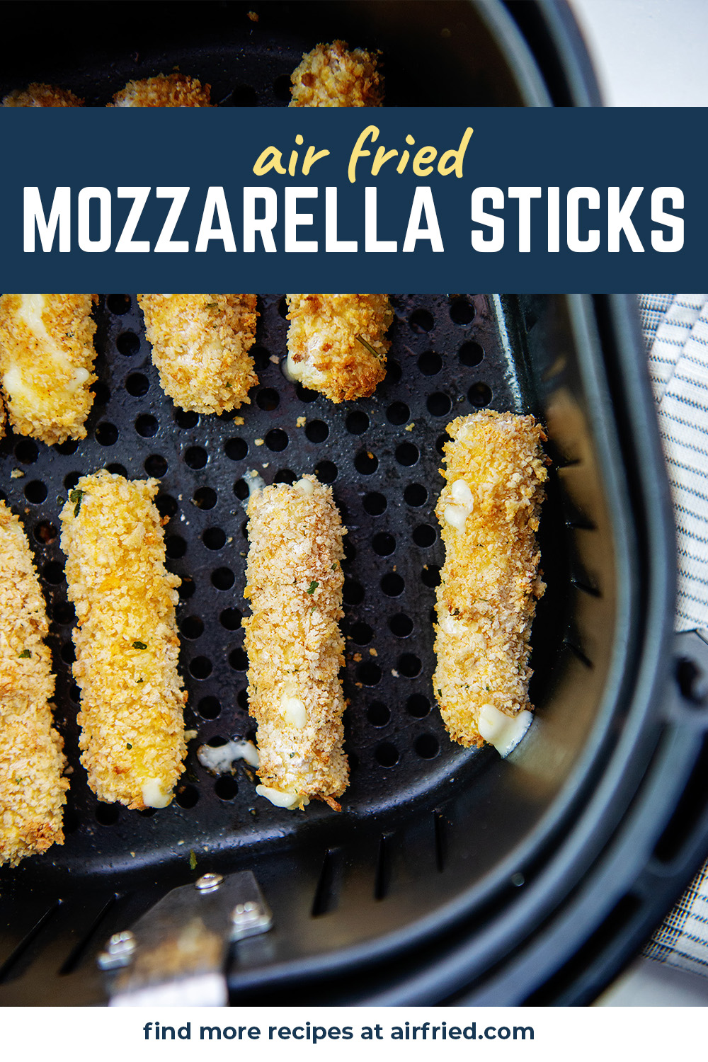 These no-fuss homemade cheese sticks were cooked in the air fryer!  So easy, you have to try it.  #mozzarellasticks #airfried #easyrecipe