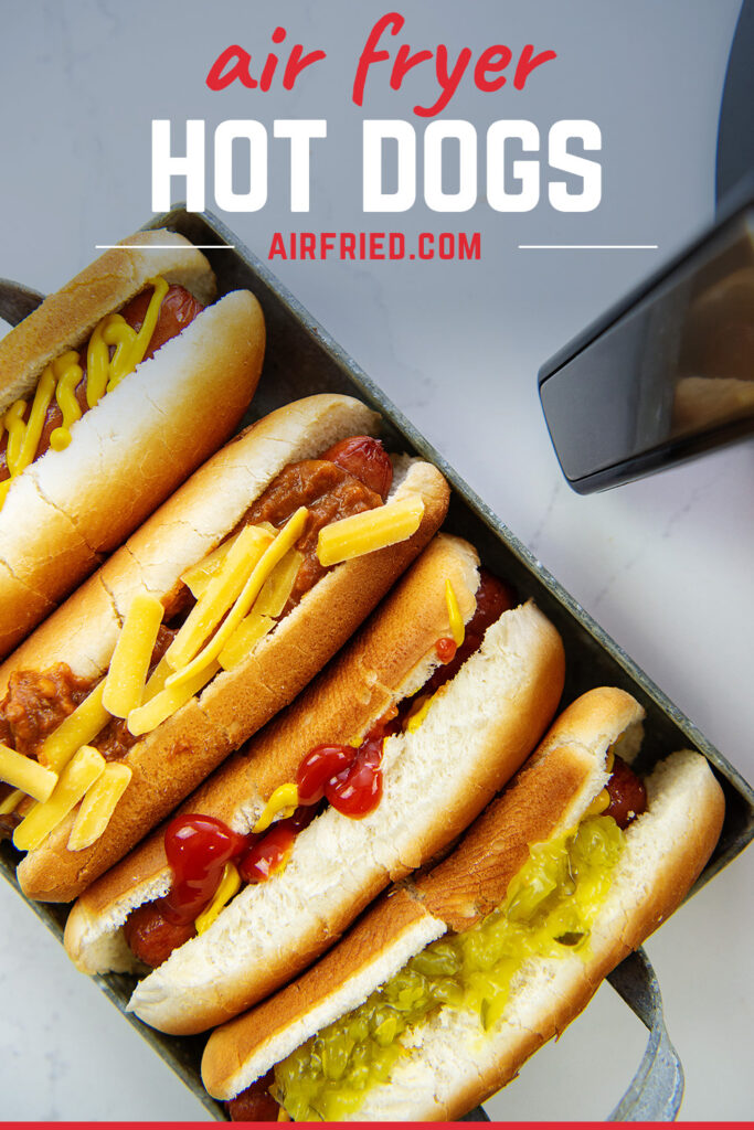 air fried hot dogs in a serving tray