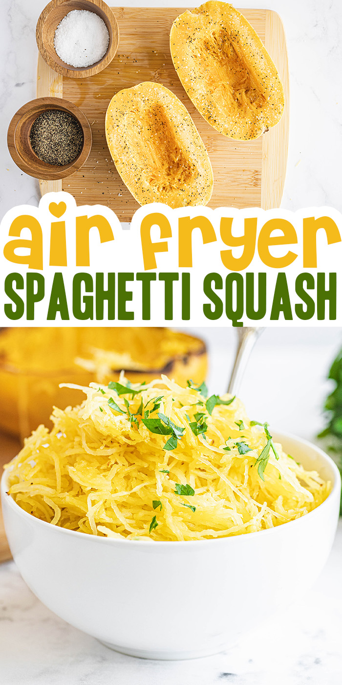 Try this air fried spaghetti squash for a great snack or for a keto friendly base for a low carb pasta option.