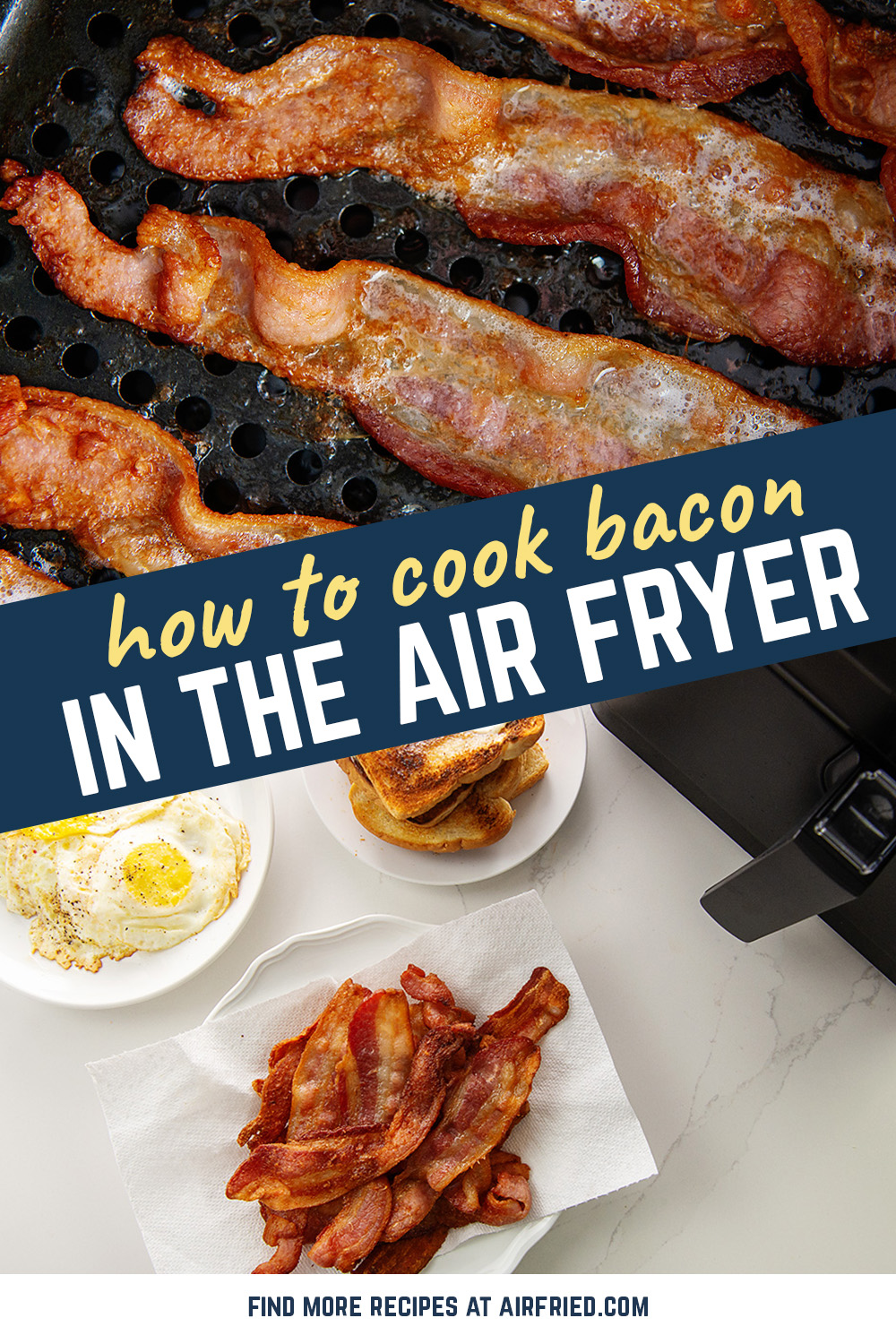 Breakfast in the air fryer! This air fried bacon is so much easier than frying and you don't have to worry about grease popping everywhere.