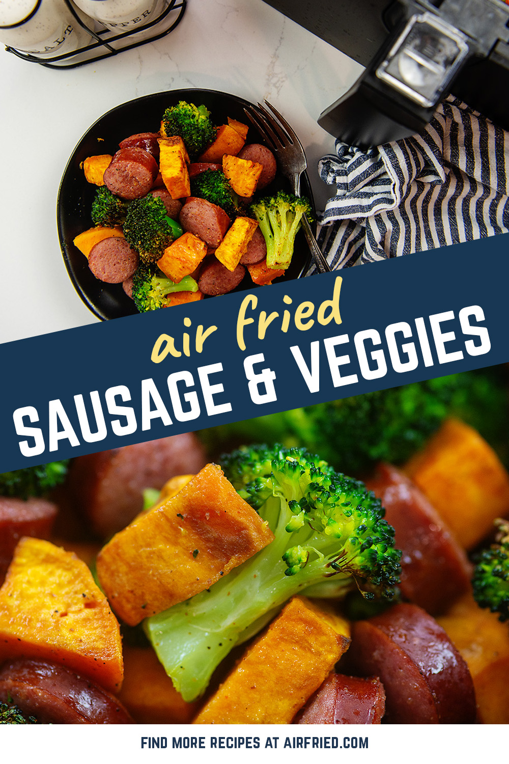 For an easy lunch or dinner that is anything but boring, try these air fried sausage and veggies.  They are packed with flavor and an interesting blend of textures!