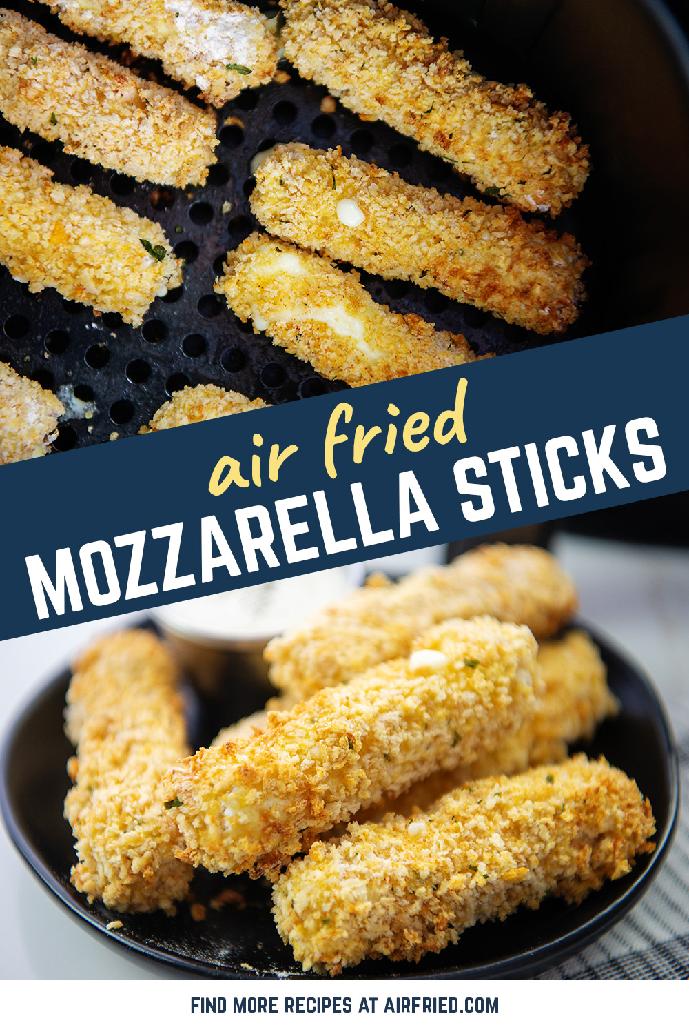 Our air fryer was perfect for whipping up a batch of homemade mozzarella sticks!  #cheesy #airfried #appetizerrecipes