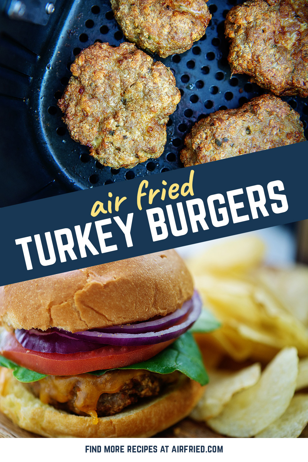 Turkey burgers are a great alternative to red meat!  They are easy to make in the air fryer and the result is a juicy burger you can serve however you like!  #turkeyburgers #airfried #lunchideas